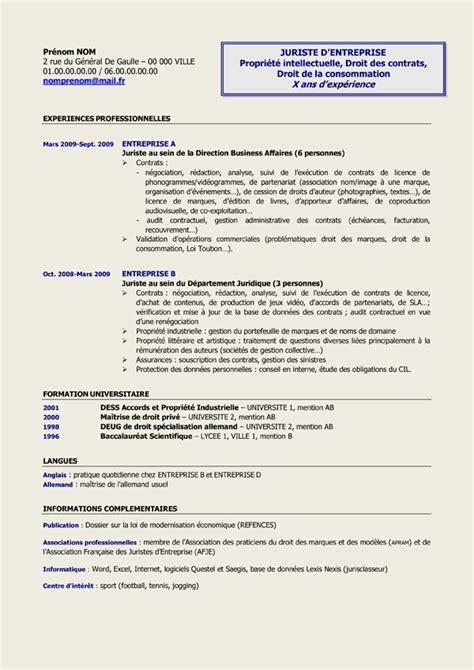 Télécharger Un Cv Gratuit by Resume Format Mod 232 Le De Cv Juriste Gratuit