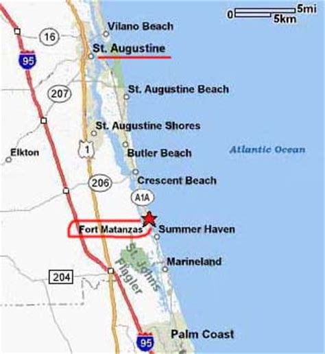 map of florida showing st augustine directions fort matanzas national monument u s