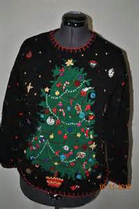 christmas tree sweater size medium snowmen candycanes