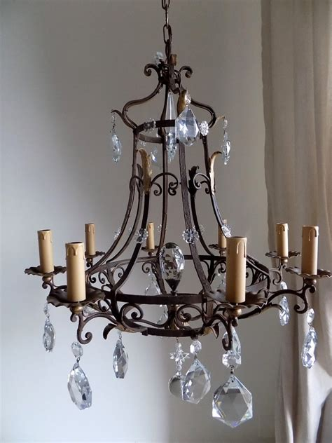 Antique French Massive Hand Forged Wrought Iron Chandelier Custom Wrought Iron Chandeliers