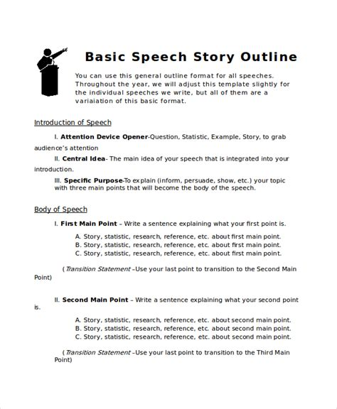 story outline template 6 free word pdf document