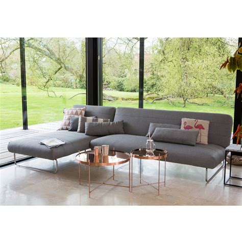 canapé d angle 3 places convertible salon gris scandinave