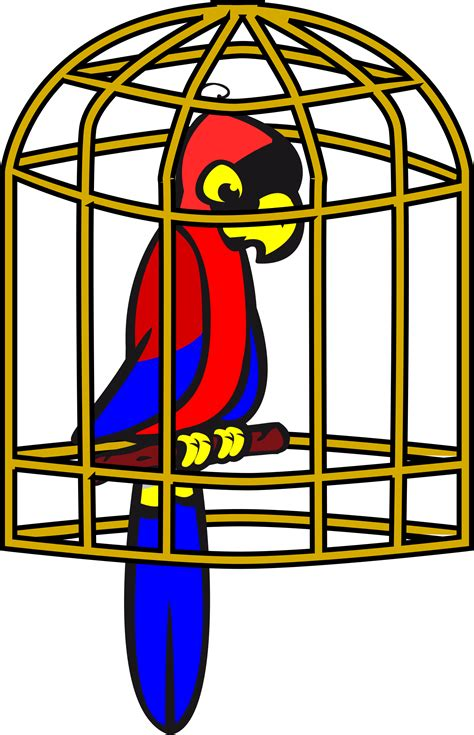 in a cage clipart parrot in a cage