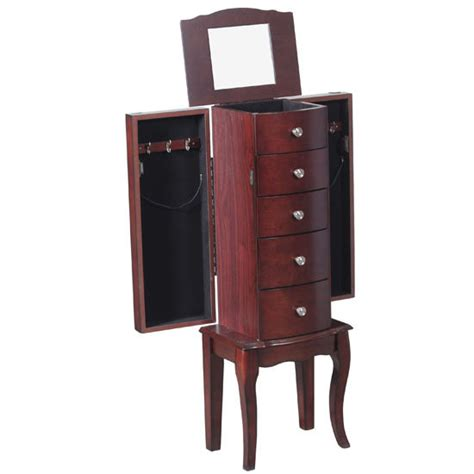 jewelry armoire hooks marlo jewelry armoire in mahogany with organization and