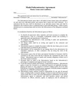 Contract For Subcontractors Template by Doc 460595 Subcontractor Contract Template