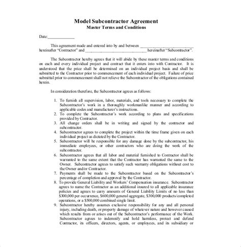 Agreement Letter Model 10 Subcontractor Agreement Templates Free Sle