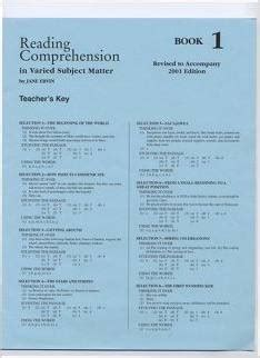 reading comprehension test with answer key reading comprehension 1 answer key school specialty eps