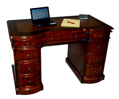 Small Cherry Desk Small Cherry Kneehole Office Desk Leather Top Ebay