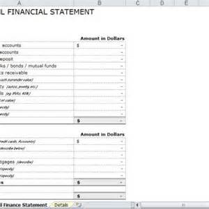 personal financial statement template excel free excel personal financial statement templates