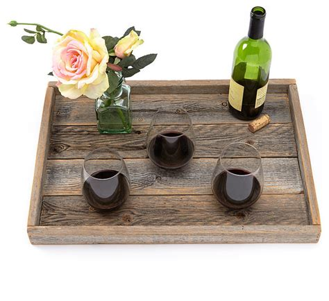 Decorating Small Bathrooms reclaimed wood serving tray slim lip farmhouse