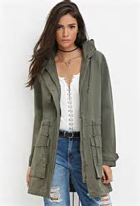 Bench Bomber Jacket Forever 21 Longline Hooded Utility Jacket In Green Lyst