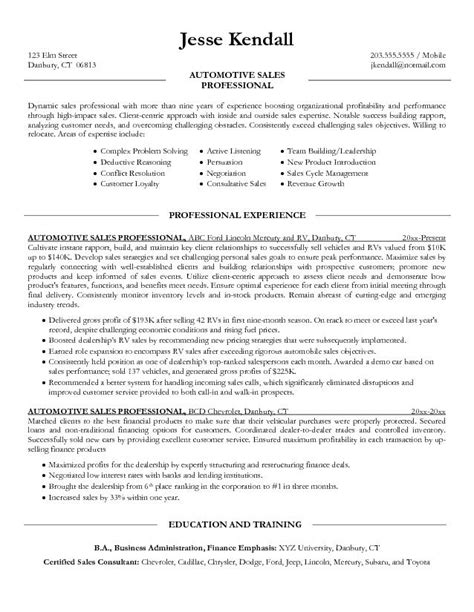 Automotive Finance Manager Sle Resume by Salesperson Resume Free Excel Templates