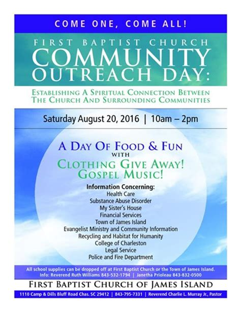 Church Outreach Flyers baptist church community outreach day town of