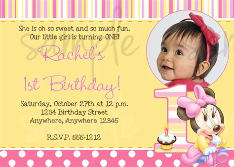 1st birthday invitation templates minnie mouse 1st birthday invitation