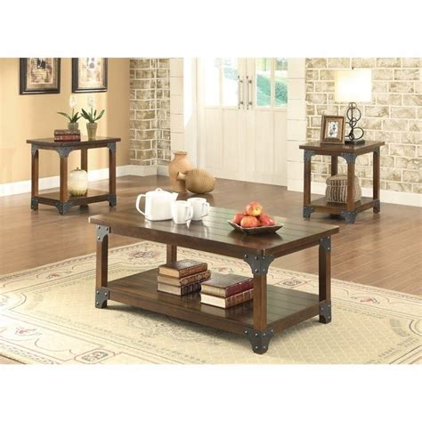 coaster 3 coffee table set in brown 703587