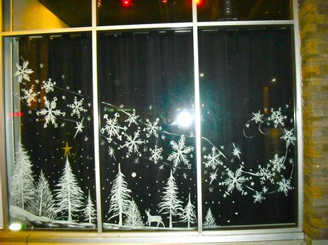trees and blowing snow by window painting on deviantart