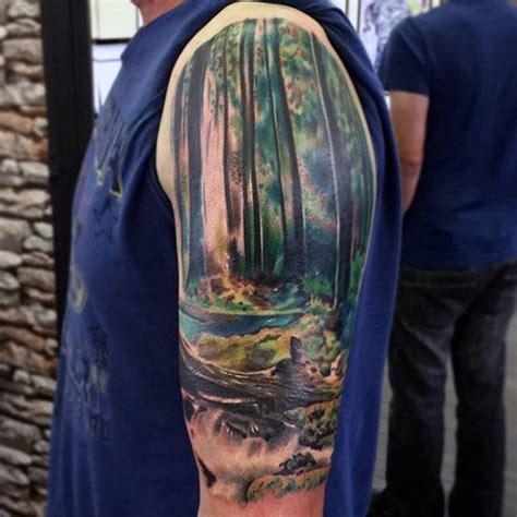 90 landscape tattoos for men scenic design ideas