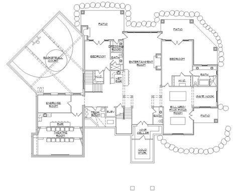 Basketball Court Floor Plan | 135 1036 floor plan basement house plans pinterest