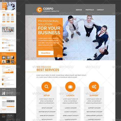 Corporate E Newsletter Template By Kalanidhithemes Graphicriver Corporate Email Template