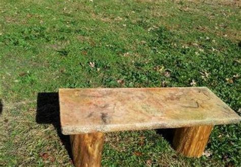 cedar log bench by buckfever14 lumberjocks com cedar log bench with stone top by buckfever14