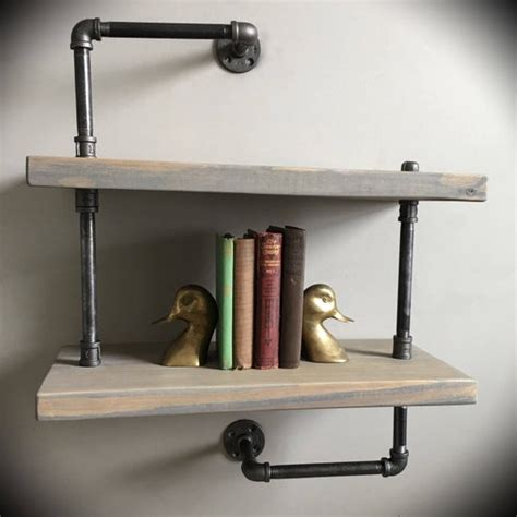 level iron pipe wood plank floating wall shelf