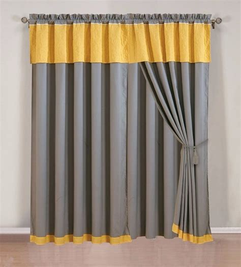 Yellow Gray Curtains Inspiration Accessories White Stain Wall Come With Silver Stain Metal Curtain Rod And Silver Stain Metal