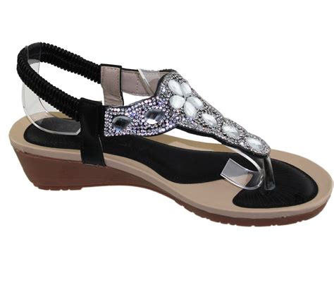 Wedding Shoes With Heel Detail by Womens Wedge Heel Sandals Diamante Toe Post Summer