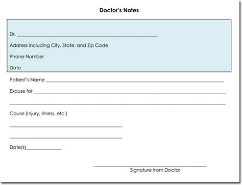 Doctor S Note Templates 28 Blank Formats To Create Doctor S Excuse Patient Doctor S Note Template