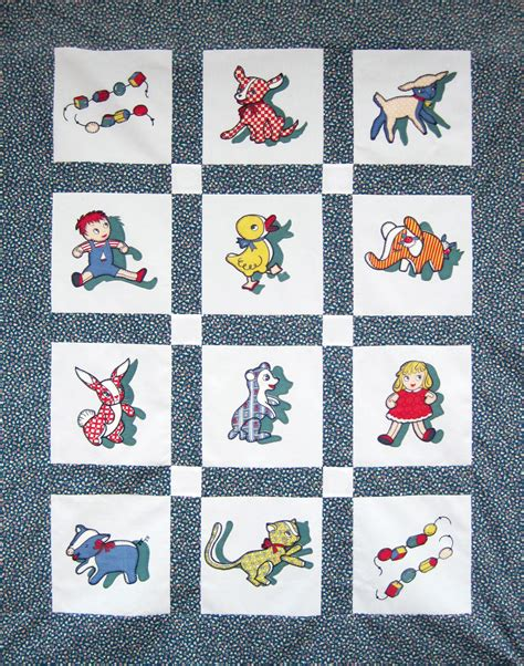 Baby Fabrics For Quilts by Appliqued Baby Quilt Vintage Novelty Fabric Q Is