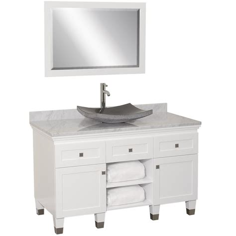 White Bathroom Vanity With Vessel Sink by 48 Quot Premiere Single Vessel Sink Vanity White Bathgems