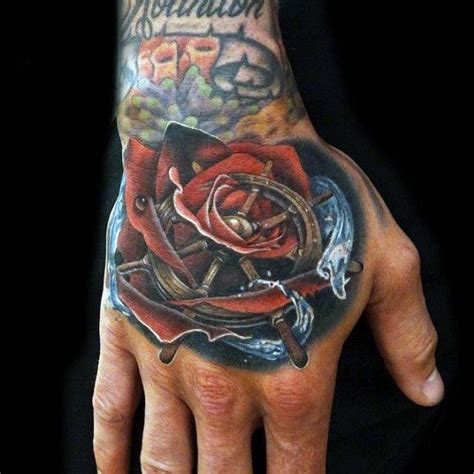 rose on hand tattoo meaning 70 ship wheel designs for a meaningful voyage