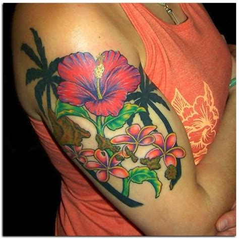 Hibiscus Quarter Sleeve Tattoo | 7 hibiscus half sleeve tattoos
