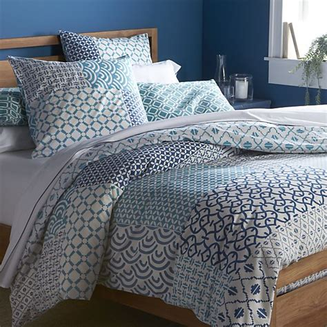 crate and barrel bedding sereno blue hand blocked duvet covers and pillow shams