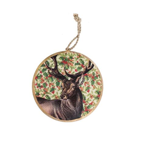 vintage deer tin disk christmas ornament