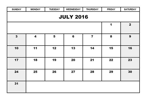 Downloadable Calendar July 2016 Calendar Portrait Printable Calendar Templates