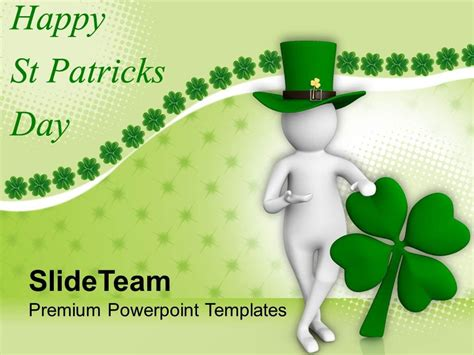 St Patricks Day Clover 3d Man And Leaf Powerpoint Templates Ppt Backgrounds For Slides St S Day Powerpoint Templates