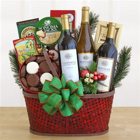 christmas wine gift baskets free shipping provincial