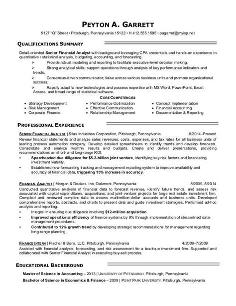 senior financial analyst resume exles financial analyst resume sle