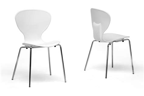 White Plastic Dining Chairs Baxton Studio Boujan White Plastic Modern Dining Chair Set Of 2