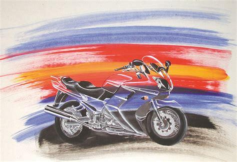 Motorrad Anmelden S W by Yamaha Blau Kawasaki Orange Acrylmalerei Von Nina