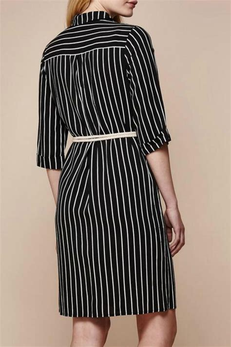 Dress Import 258360 Black Striped Collar Dress yumi stripe shirt dress from canada by folie shoptiques