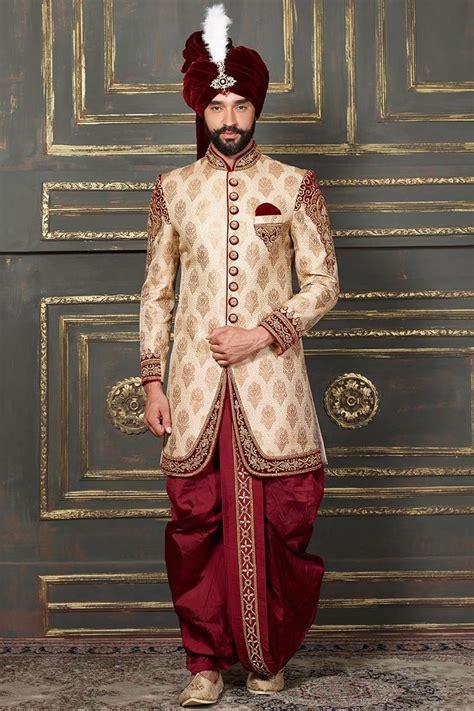 groom dhoti indo western sherwani  cream color designer