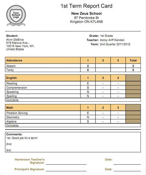 Mba Report Card Creator by Homeschool Report Card Template Pdf Asli Aetherair Co