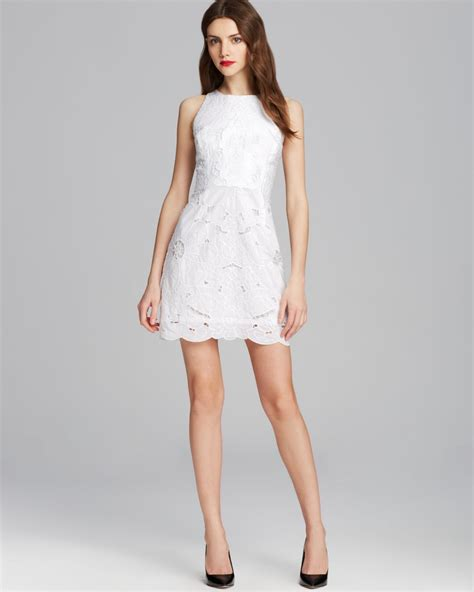 dress laudia milly embroidered dress in white lyst