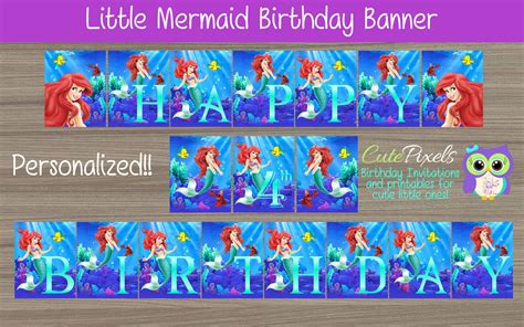 mermaid birthday banner ariel birthday banner disney