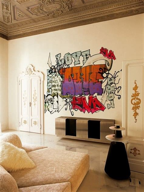 Living Room Word Wall How To Use Graffiti To Give Character To Your Home