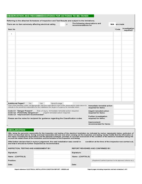 Installer Reports report form of electrical installation condition free