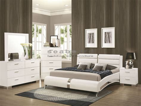 queen white bedroom set 300345q felicity white chrome 6pc queen bedroom set