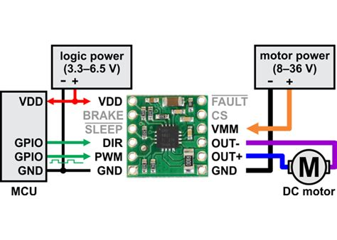 drv8801 single brushed dc motor driver carrier