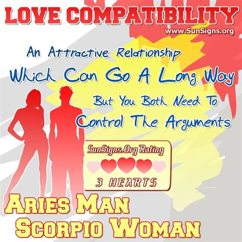 aries man and scorpio woman love compatibility sun signs